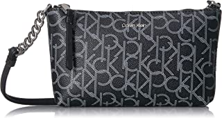 Calvin Klein Hayden Signature Chain Strap Crossbody For Women - Black/White