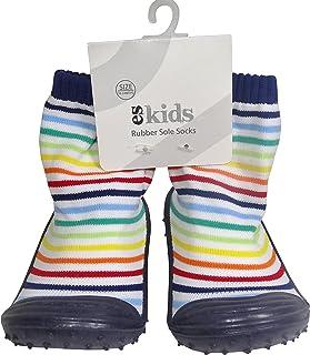 ES Kids Rubber Soled Socks - Blue Rainbow 6-12mth, Blue