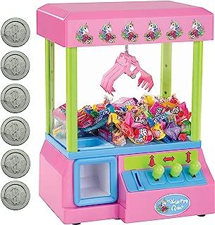 Bundaloo Unicorn Mini Claw Machine - Retro Grabber Arcade Game for Kids - Candies, Toys, Treats Catcher, Small Vending Dispenser - 30 Tokens, 3-Lever Design, Fun Sound Effects - 10 x 13.5 x 8 Inches
