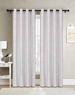 Curtainsville ELLIE - Jacquard Doted Design Window curtains 2 Panel Treatments Draperies Silver Grommet top Livingroom Bedroom Kitchen office 54W84L 7ft Long (Grey)