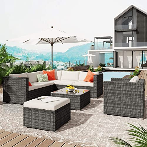 lowest 8 Piece Outdoor Patio wholesale Furniture Sets,All WeatherOutdoor Sectional Sofa with Table,Modern Rattan online Wicker, Perfect for Porch Backyard Garden Poolside (Gray) outlet sale