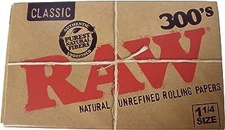 300枚入×2パック RAW 300's Classic Natural Unrefined Rolling Papers 1 1/4Size 78mm ミディアムサイズ ロウ ペーパー 2 Packs