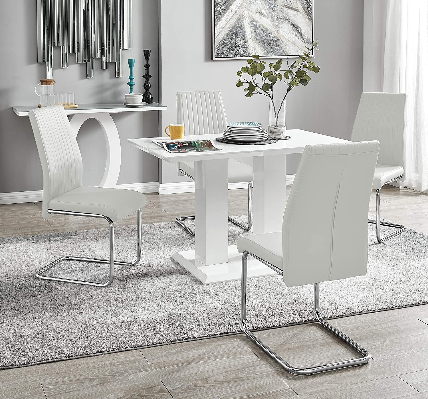 Imperia Modern White High Gloss Dining Table And 9 Lorenzo Chrome Leather  Dining Chairs Set White Table + White Lorenzo Chairs