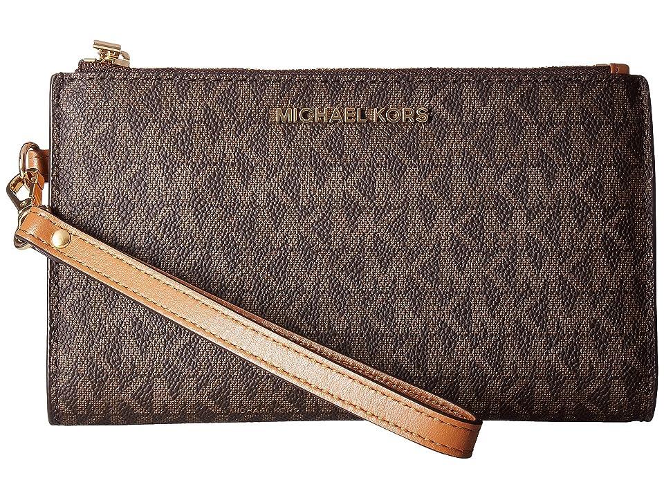 MICHAEL Michael Kors Adele Double-Zip Wristlet 7+ (Brown) Wristlet Handbags