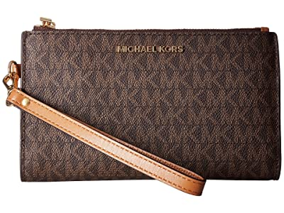 MICHAEL Michael Kors Adele Double-Zip Wristlet 7+ (Brown) Wristlet Handbags