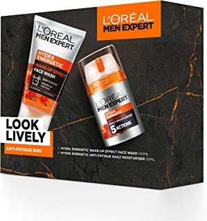 L'OREAL PARIS Men Expert Gift Set for Men, Look Lively Anti-Fatigue Skin Duo: Hydra Energetic Face Wash and Moisturiser, ...