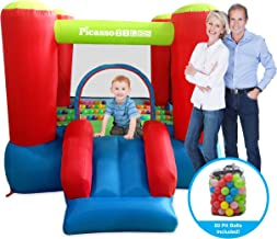 PicassoTiles KC106 8x7 Foot Junior Inflatable Bouncer, Jumping Bouncing House, Jump Slide Playhouse w/ 50 Pit Balls, 3 Sides Mesh Protection, and Heavy-Duty GFCI ETL Certified 385W Blower