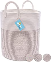 Cotton Rope Basket in Off-White and Brown Stitches | Tall Storage Basket with Long Handles | Decorative Blanket Basket for Living Room and Laundry