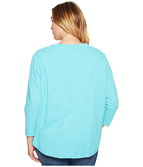 Luna Pinstripe Turquoise de Top Plus Fresh Fresh Extra Catalina Size Produce gwTznSq