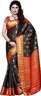 MIMOSA Artificial Silk Saree Kanjivaram Style with Blouse Color:Black