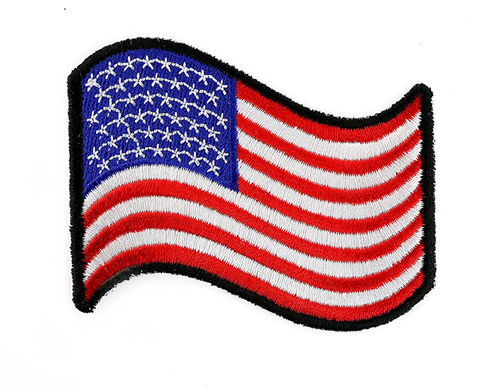 Wavy American Flag Embroidered Patch IVANP1481
