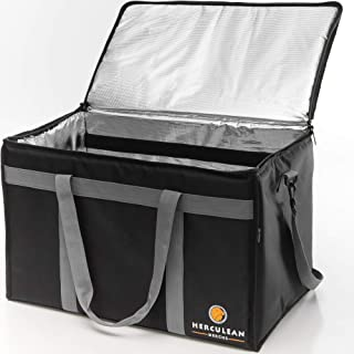 Herculean Insulated Food Delivery Bag - Hot and Cold Thermal XXL Commercial Catering Bag - Durable and Waterproof - EXTRA Divider and Strap - Ideal for Restaurant Delivery and Grocery Shopping