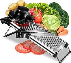 Adjustable Stainless Steel Mandoline Slicer - Professional Handheld Kitchen Mandolin Julienne Cutter for Slicing Food Vegetables Fruit Chip French Fry - Cut-Resistant Gloves & Blade Cleaning Brush