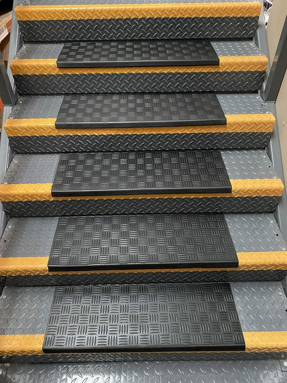 Gummi-Treppenmatte 1, 18 x 60 cm Riffelblech rutschfeste Treppenauflagen Au/ßen- und Innentreppenmatten f/ür den privaten oder gewerblichen Gebrauch