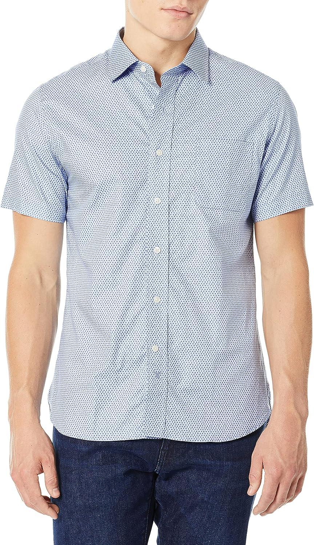 Hickey Freeman Men's Short Sleeve Button Down Regular Fit Shirt