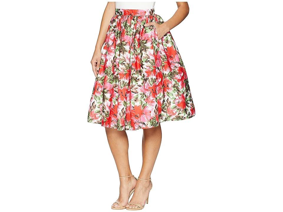 Unique Vintage High Waist Swing Skirt (Pink Floral) Women