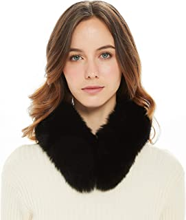 Ferand Women's Elegant Warm Real Fox Fur Stand-up Collar Scarf, Soft Neck Warmer for Winter