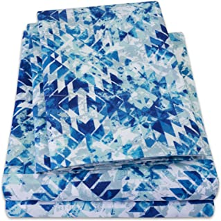 1500 Supreme Collection Extra Soft Aqualina Geometric Aztec Pattern Sheet Set, Queen - Luxury Bed Sheets Set with Deep Pocket Wrinkle Free Hypoallergenic Bedding, Trending Printed Pattern, Queen