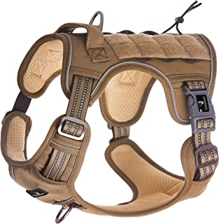 FIVEWOODY Tactical Service Dog Harness Training No Pulling Front Clip Leash Attachment Reflective K9 Working Dog Vest Easy Control for Small Medium Large Dogs