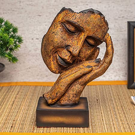 TIED RIBBONS Resin Human Face Showpiece, 21 X 9 X 9 cm, Brown Golden, 1 Piece
