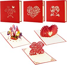 Best Paper Greetings 3-Pack 3D Romantic Love Heart Themed Popup Greeting Cards for Valentine's Day and Anniversaries - Includes Envelopes, 4.75 x 4.75 Inches