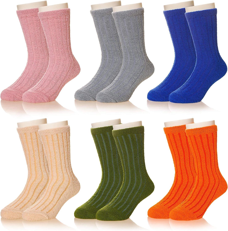 Kids Boy Girls Fuzzy Slipper Socks Toddlers Microfiber Cute Cozy Fluffy Thick Soft Warm Winter Fluffy Christmas Socks