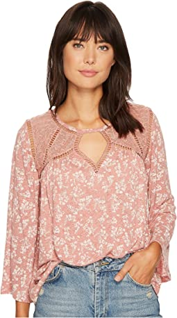 Ditzy Lace Mix Peasant Top