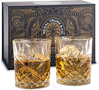 Whiskey Glass Set of 2 packaged in a Spectacular Gift-Box | Old Fashioned Lead-Free Crystal Whiskey Tumblers for Whisky Bo...