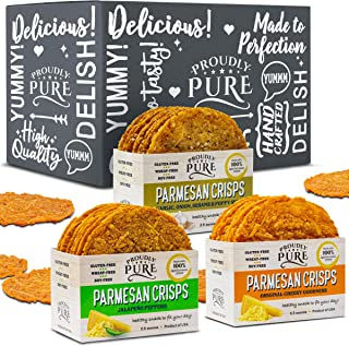 Proudly Pure Parmesan Cheese Crisps - Keto Snacks Zero Carb Crunchy Delicious Healthy 100% Natural Aged Cheesy Parm Chips Wheat & Gluten Free Keto Crackers Low Carb Snacks (Variety Pack, 3 Pack)