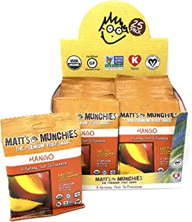 Matt's Munchies Mango 25 Pack Caddy Organic Non-GMO Fruit Leather Peelable Fruit Snack