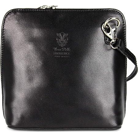 Bellissimo BELLI ital. Ledertasche Damen Umhängetasche Handtasche Schultertasche - 17x16,5x8,5 cm (B x H x T) (Black)