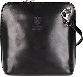 Belli ital. Ledertasche Damen Umhängetasche Handtasche Schultertasche - 17x16,5x8,5 cm B x H x T Black