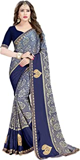 Gaurangi Creation Women's Heavy Georgette Printed Blue Indian Ethnic Saree With Unstitched Blouse Piece(KK-1001 Blue)