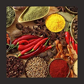 Print Art Framed Painting of Indian Colorful Food Spices for Kitchen Wall in Home Decorative Digital Reprint Painting (Mul...