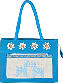 Roy Jute Handicrafts Women's Handbag (RJH 44_Blue)