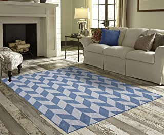 PRIYATE Florida Collection All Weather Indoor/Outdoor Geometric Triangle Rug for Living Room, Bedroom, and Dining Room (7'10