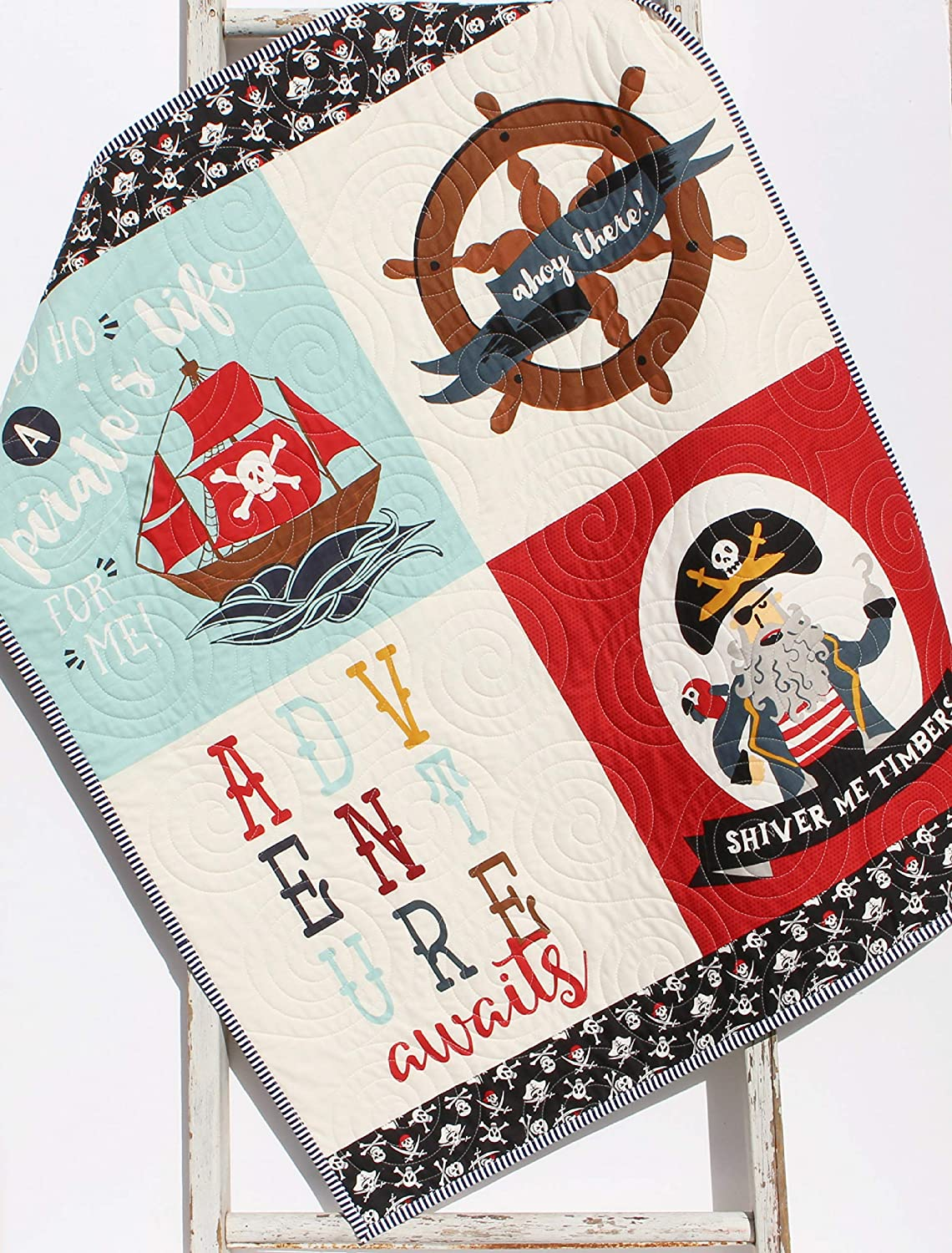 Latest item Pirate Quilt Boy Baby Blanket Nautical Ahoy Nur Mate Ocean Very popular Ships