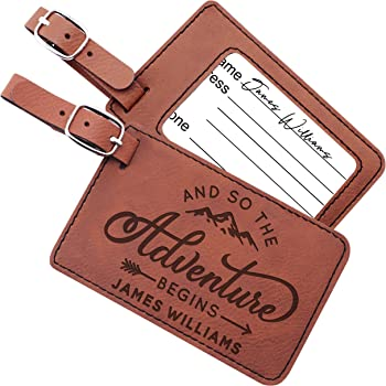 Vintage Map Of The World Leather Luggage Tags Personalized Address Card With Adjustable Strap