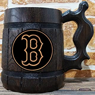 Boston Red Sox Beer Mug, Baseball Wooden Beer Stein, Sport Gift, Personalized Beer Stein, Boston Red Sox Tankard, Custom Gift for Men, Gift for Him