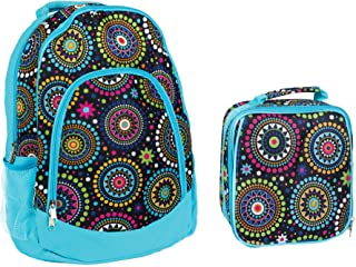 Reinforced Water Resistant School Backpack and Insulated Lunch Bag Set - Blue Vibrant Medallion