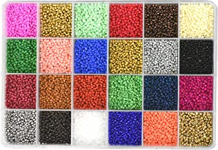 Mandala Crafts Glass Seed Beads, Small Pony Beads Assorted Kit with Organizer Box for Jewelry Making, Beading, Crafting (Round 2.1X1.8MM Size 11/0, 24 Assorted Multicolor Set Combo 1)