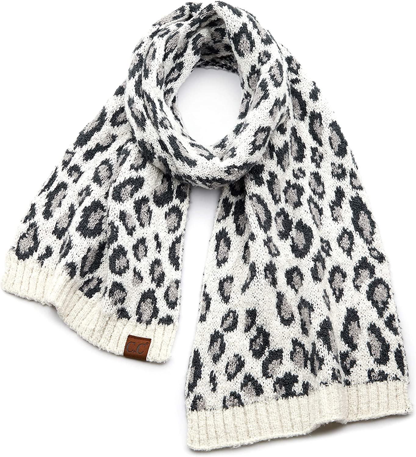 Funky Junque Womens Knit Leopard Print Cuff Pom outlet Fur Bea Faux and Japan Maker New