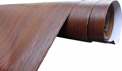 Elton Cherry Brown Teak Wood Grain Textured Self Adhesive Furniture Film Interior Film Waterproof Contact Paper For t...