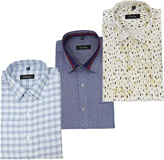 ONCHU Combo Pack of 3 Mens Formal Shirts Full Shirt