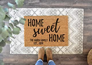 Home Sweet Home Custom Doormat Last Name Welcome Mat Housewarming Gift New Home Gift Personalized Wedding Gift Coir Mat Outdoor Doormat