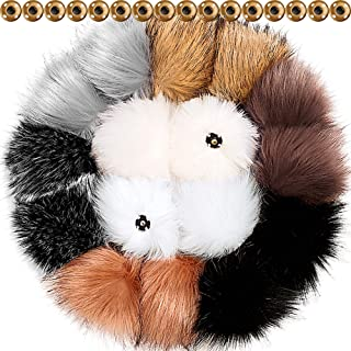 Tatuo DIY Faux Fur Pom Poms Ball with Press Button Removable Fluffy Pompom for Knitting Hats Shoes Scarves Bag Accessories (Popular Mix Colors, 16)