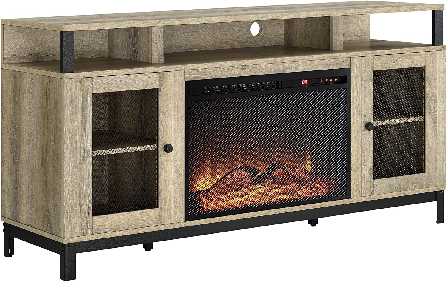 Ameriwood Home Marxen half Fireplace Stand TV Natural Sales