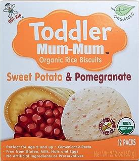 Hot-Kid Toddler Mum-Mum Rice Biscuits, Organic Sweet Potato & Pomegranate, 24 Pieces (Pack of 6)