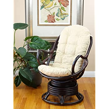 Java Lounge Swivel Rocking Chair with Cream Cushion Natural Rattan Wicker Handmade, Dark Brown