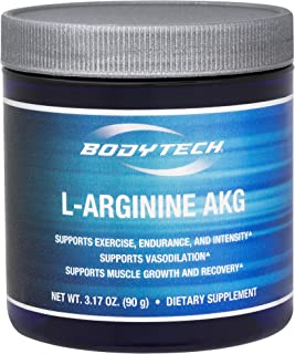 BodyTech LArginine AKG 3000MG Supports Exercise Endurance Intensity, Muscle Growth Recovery, Vasodilation, Nitric Oxide (3.17 Ounce Powder)